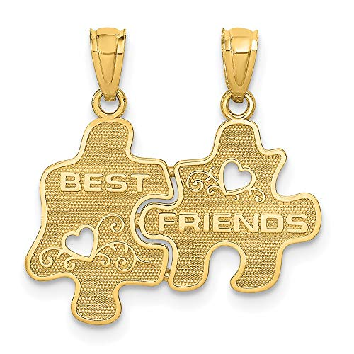 Saris and Things 14k gelbgold Best Friends Puzzle Pieces auseinanderbrechbare anhänger