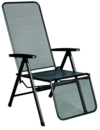 acamp Gartensessel Relaxstuhl Astor verstellbar Stahlrohr und Streckmetall anthrazit