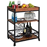 Solid Wood rolling Kitchen cart with 3 Tier Storage Shelves ,Metal Frame wine Glass Storage bar Carts with Removable Top Box Container and Lockable Caster ,Brown
