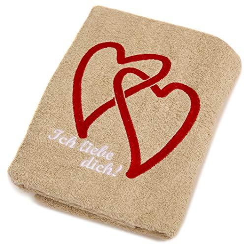 Abc Casa beige Handtuch mit Herzen Ich Liebe Dich - romantische Geschenke zum Geburtstag, Jahrestag, Hochzeitstag, Valentinstag, Muttertag, Vatertag für männer oder für Frauen