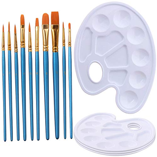 Elisel 10 Pcs Paint Brushes Watercolor Brushes Art Paint Brush Set and 4 Pcs Paint Palette for Kids and Adults to Create Art Paint palettes (10 Brush + 4 Palette)
