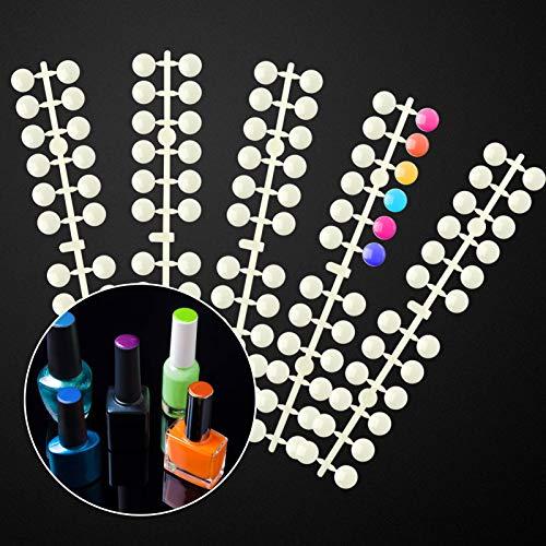 240 Pcs Round False Nail Display Tips- Natural Color Nail Art Display Chart Nail Art Color Display Tips Tool Nail Swatch Sticks with Adhesive Sticker for Nail Polish Training Practicing Displaying