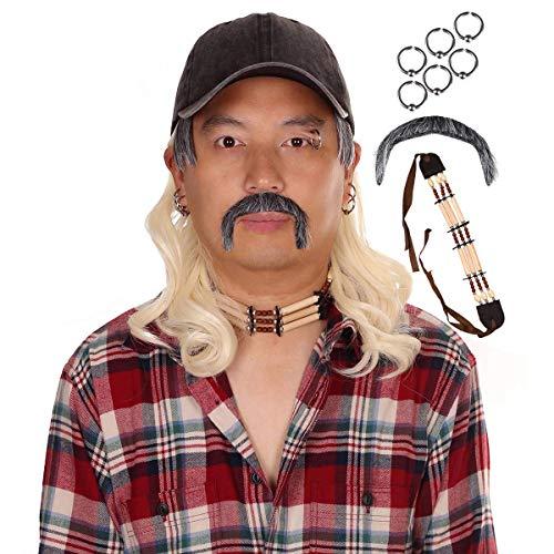 Sombrero Peluca con Collar Clips de Oreja Bigote para Hombre