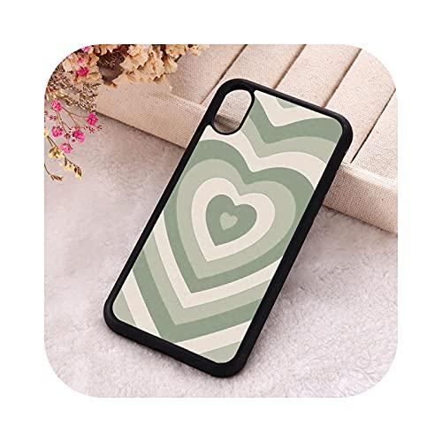 P.X.M.E. 5 5S SE 2020 Funda de teléfono para iPhone 6 6S 7 8 Plus X Xs XR 11 12 Mini Pro Max Goma Silicona Verde Salvia Latte Heart-Para iPhone 5S