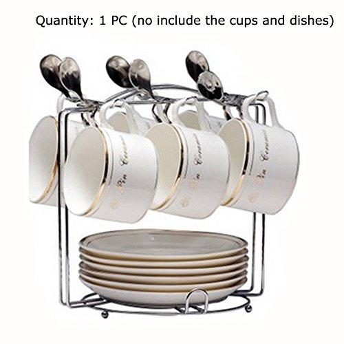 Yontree Struttura con ganci per 6 tazze e piattini, metallo, Silver, Stile B