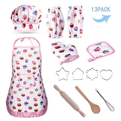 Refasy Funny Gifts for Kid 4-8 Year Old,Kitchen Accessories Set for Kids Chef Role Pretend Play for Girls Best Birthday Toy for Children Ages 5-7 Cooking Baking Set for Kid White