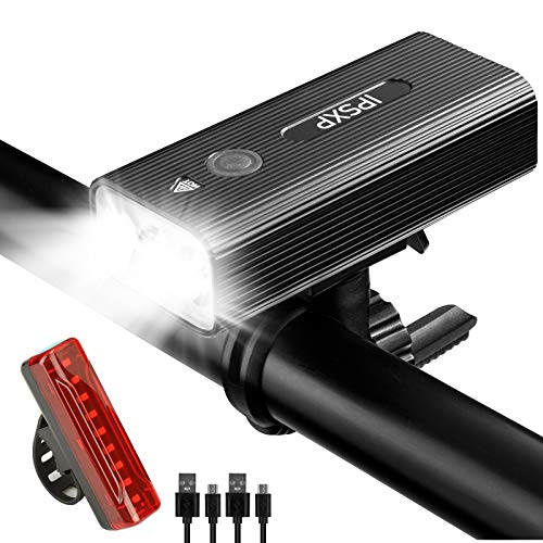IPSXP LED Fahrradbeleuchtung Set, 5200mAh USB Wiederaufladbare Fahrradlicht Fahrradlampen Set 500 m Sichtbarkeit, Abnehmbar Tragbare Taschenlampe, IPX5 Wasserdicht
