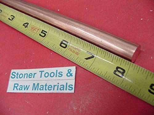1/2' C110 COPPER ROUND ROD 8' long H04 Solid .50' OD CU New Lathe Bar Stock