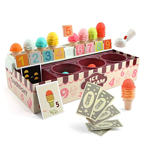 TOP BRIGHT Pretend Play Ice Cream Counter,Montessori Preschool Learning Educational Math Toys for Toddlers,Stacking Game Toys for Age 3 4 5 Year olds Kids