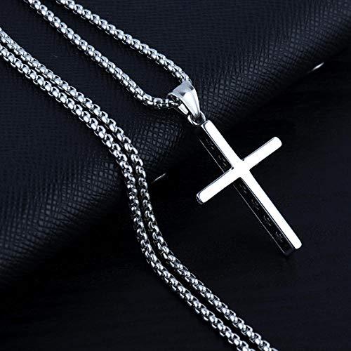 Collares Colgante Joyas Collar De Cadena con Colgante De Cruz De Caballero Punk para Hombre, Regalo Gótico Retro para Hombre, Nuevo