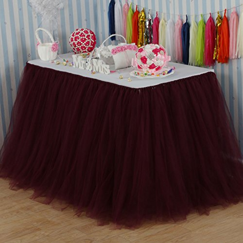 vLovelife 100cm Burgundy Tulle Tutu Table Skirt Tableware TableCloth Party Baby Shower Birthday Wedding Decorations Favor Customized Size Available
