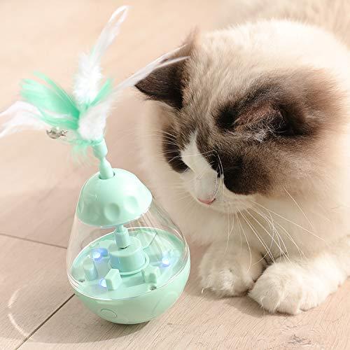 PETTOM Juguete Interactivo con Pluma para Gato, Pelota Dispensadora de Comida para Gatos Gatito, 3 en 1 Juguete Electricos Automático Giratorio con Campana para Gatos (Baterías Incluidas)