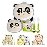 H HOMEWINS Set da Cucina in bambù per Bambini, Set di 5 Pezzi Vasellame Pasto Coperto BPA Gratuito Servizio di Cena Piatto Ciotola Tazza Cucchiaio Forchetta (Panda)