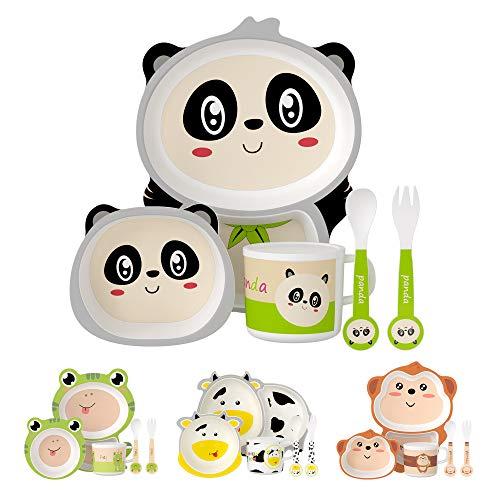 H HOMEWINS Kindergeschirr 5-teilig Nette Panda-Form Umweltfreundlich Bambus Kinder Geschirr Set für Babys ab 6 Monaten - Spülmaschinenfest Teller Schüssel Trinkbecher Löffel und Gabel
