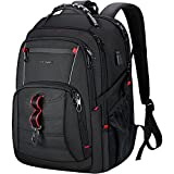 KROSER Travel Laptop Backpack 17.3 Inch XL Computer Backpack Stylish College Backpack with RFID Pockets USB Charging Port REFLECTIVE STRIPS Water-Repellent Day pack for School/Business/Men/Women-Black