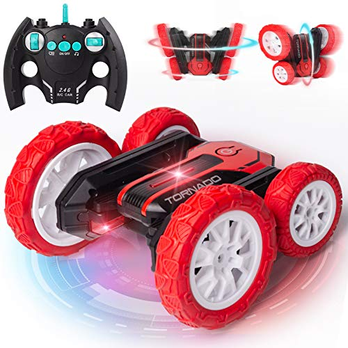 RC Stunt Car Remote Control Car for Boys Toys Age 3 4 5 6 7 8 4WD 2.4Ghz Double Sided 360° Rotating RC Car with Headlight & Music High Speed Toy Cars Birthday Gifts for 3-14 Years Old Boys Kids