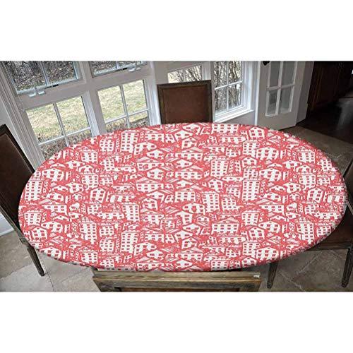 LCGGDB - Tovaglia elastica in poliestere, motivo città urbana vintage con architettura monocromatica, design a schizzo, allungata/ovale, adatta a tavoli fino a 121,9 x 172,7 cm