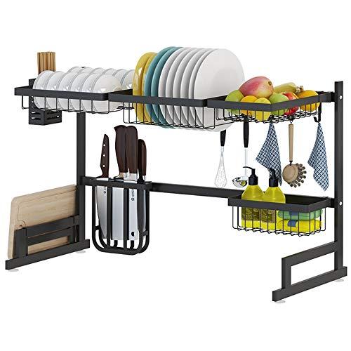 Küchengeschirrkorb Edelstahl-Küche Besteck Storage Rack   Sink-Rack Aufsatz- Abtropfbrett   Abfluss Rack-Haushaltsscheibenständer   Rice Bowl-Rack mwsoz (Color : Black, Size : L87×H52×W32cm)