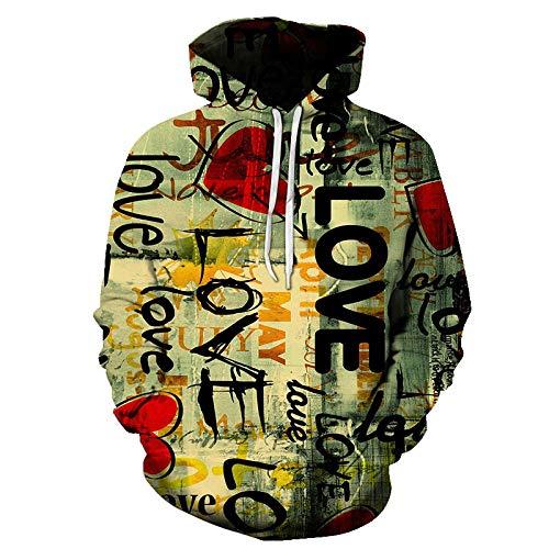 Sweat À Capuche Unisexe 3D pour Hommes, Femmes, Pulls À Capuche Graffiti Imprimés À Manches Longues avec De Grandes Poches, Fash ION Drôle Laid Plus La Taille pour Les Dames Hiphop, XXL