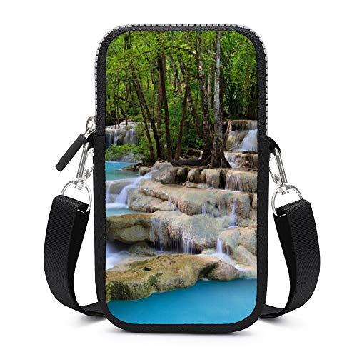 Bolso bandolera para teléfono móvil con correa de hombro extraíble pequeñas cascadas...