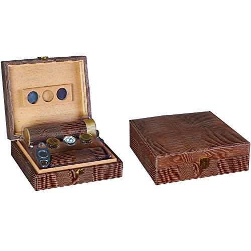 Prestige Import Group - The Alligator Cigar Humidor Gift Set - (Includes: Cigar Humi-Tube, Finger Leather 2 Cigar Case, Hygrometer, 2 Humidifiers) - Color: Brown