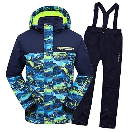 LPATTERN Kinder Skifahren Bekleidung - Kinder Jungen/Mädchen Zweiteilig Skianzug Schneeanzug Outfit-Set(Skijacke+ Skihose), Dunkelblau Jacke+ Dunkelblau Trägerhose, 116/122