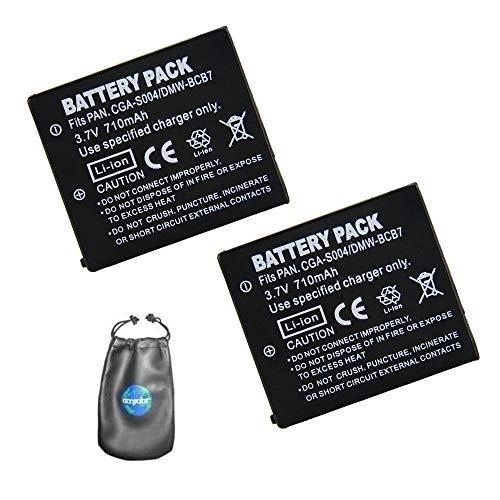 amsahr digitale camera en camcorder batterij voor Panasonic CGA-S004, CGA-S004E Pack-2 - inclusief objectief accessoires