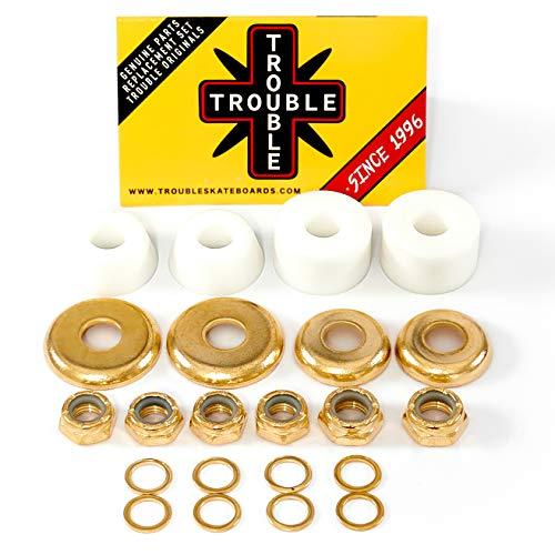 Trouble Bushings für Skateboard-LKWs • Hard 100A • Cushion Rebuild Bushing Kit • Weiß/Gold (BH1)