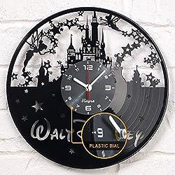 "Vinyra Vinyl Wall Clock compatible with Walt Disney World Mickey Mouse Castle themed Home - Gift Set Idea for Kids, Adults, Boys, Girls and Women - Nursery Art Vintage Decor, 12"" LP Record Clock Black"
