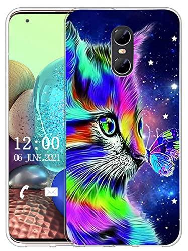 Sunrive Kompatibel mit Ulefone Gemini Hülle Silikon, Transparent Handyhülle Schutzhülle Etui Hülle (X Katze 1)+Gratis Universal Eingabestift MEHRWEG