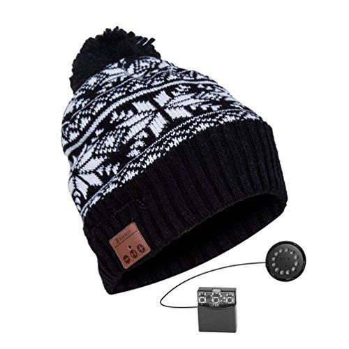 YI WORLD Smart Casquette Bluetooth Beanie Hat Fil Casque Music Hat Microphone intégré Répondre aux appels Équipement, Black