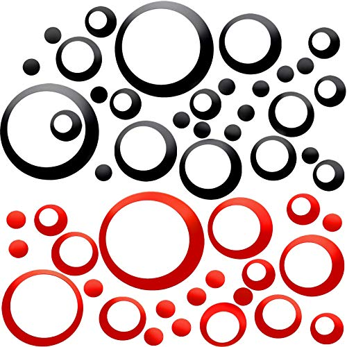 Outus 96 Pieces Acrylic Circle Mirror Wall Stickers Circle Wall Mural Modern Wall Mural DIY Decals for Living Room Bedroom Home Black and Red