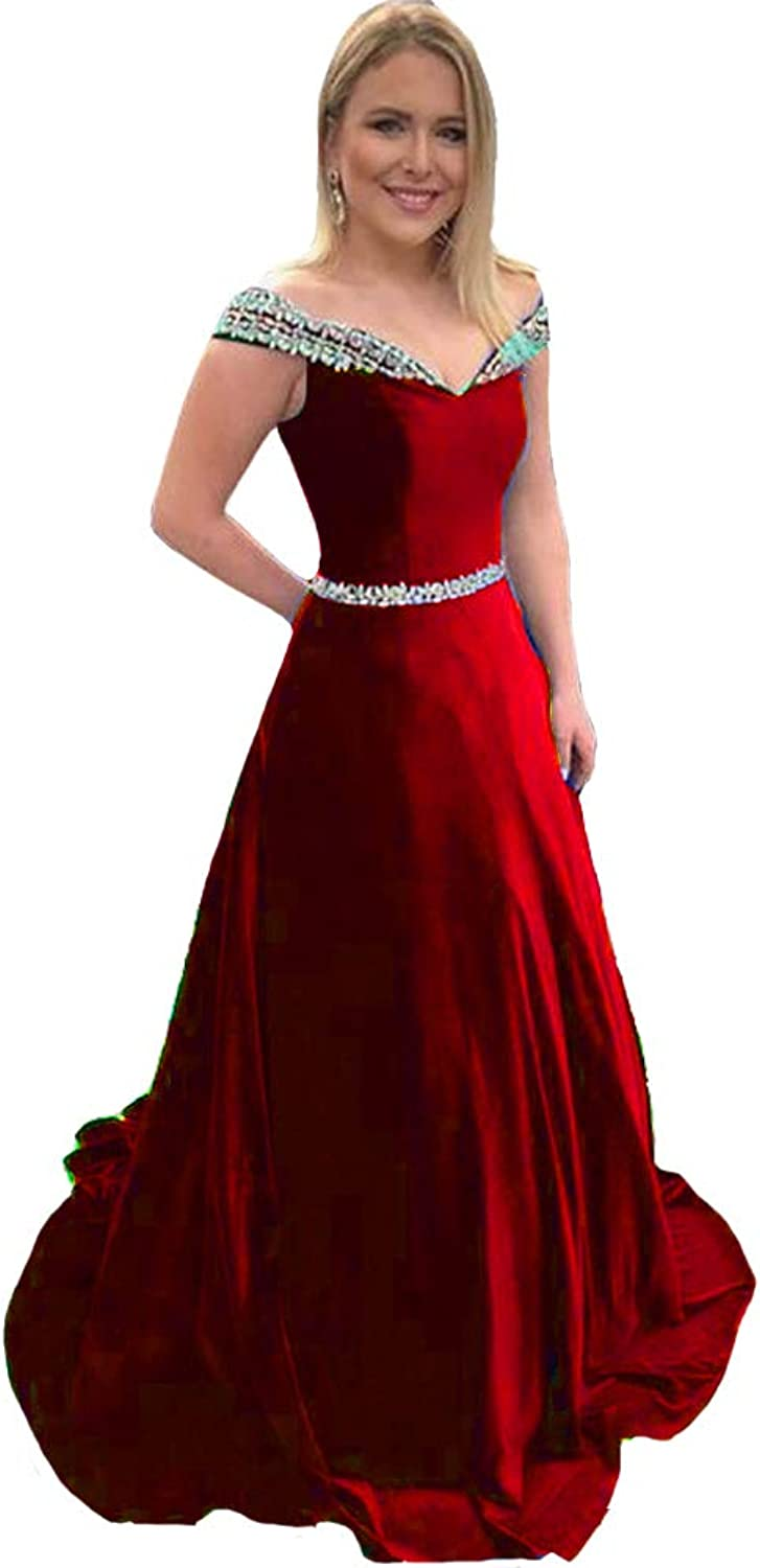 Lemai Velvet Beaded Off The Shoulder A Line Long Formal Evening Gown Prom Dress