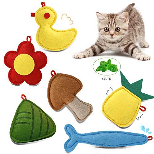 Dorakitten 6 Pack Cat Catnip Toys, Felt Catnip Interactive Cat Kicker Toys-Duck Mushrrom Flower Fish Pineapple Zongzi for Indoor Cats Kittens, Cute Cat Teething Chew Wand Toy Replacement