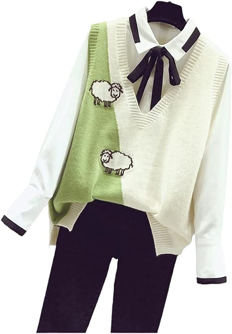 Ciystekn Women's Cartoon Knitted Vest Women Casual Cotton Sweater