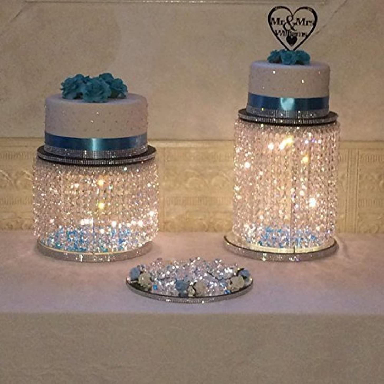 Forbes Favors ? Single Acrylic Crystal Bead Chandelier Fairy Light Cake Stand With LED Lights for Wedding Cake, Anniversary Special Occasion ( Available in 6