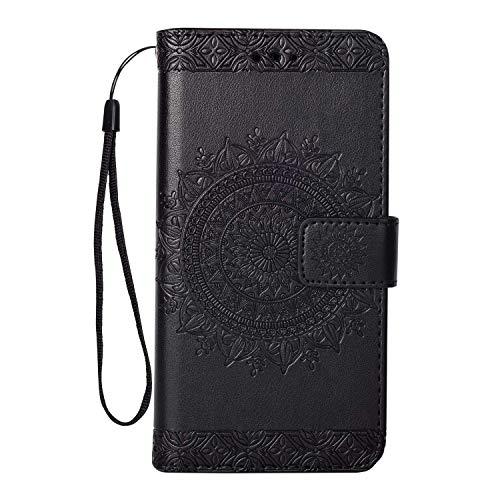 Galaxy Note 5 Hülle, SONWO Premium Prägung Mandala PU Lederhülle Flip Brieftasche Hülle Cover Schale Ständer Etui Wallet Tasche Case Schutzhülle für Samsung Galaxy Note 5, Schwarz