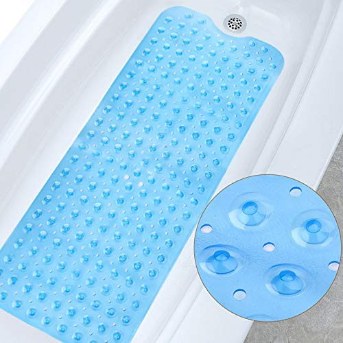 MoreCro Alfombra de Bañera, 100×40cm Antideslizante Alfombra para Ducha, Alfombrilla de Baño con 200 Ventosas para Bebe, Lavable a Máquina(Azul Claro)