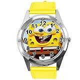 Reloj redondo de cuero amarillo para fans de esponja amarilla e3