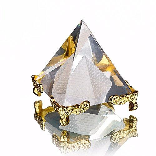 Energía pirámide de curación de cristal de cristal transparente con oro soporte...
