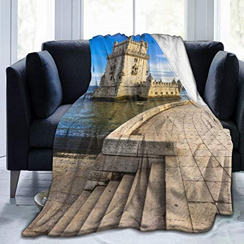 Blived Manta Mantas de Franela,Torre de Belem-Monumento Famoso de Lisboa Portugal Manta de Lana Manta de sofá Manta de Aire Acondicionado de día luz para sofá Cama 205x150cm