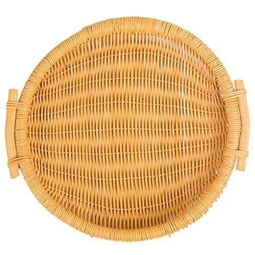 LHQ-HQ Tkany koszyk na bułkę do chleba na żywność biurko koszyk na owoce taca na chleb rattanowy i wiklinowy kosz biurkowy/przechowywanie/kosz piknikowy, obsługa restauracji, kosz wiklinowy (okrągły)