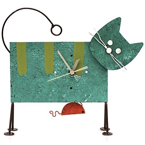 Oxidos Uhr Standuhr Katze mit Pendel Metall Pendeluhr Fair Trade (Türkis)