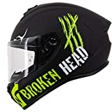Broken Head Adrenalin Therapy 4X - Sportlicher Integralhelm - Motorrad-Helm - Schwarz-Grün Matt - Größe S (55-56 cm)