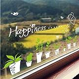 Rimovibile Pianta Fresca Vaso Bianco Fiori Verdi Adesivi Murali Vetrofanie Da Parete In Vetro Adesivi Per Poster Bonsai Vaso Da Fiori Poster