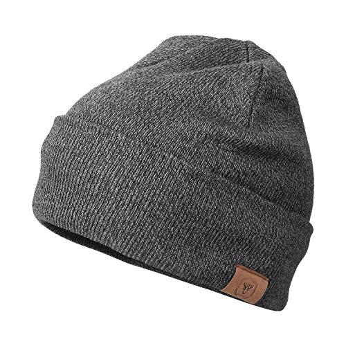 OZERO Winter Beanie Mütze,Thermo Strickmütze Laufmützen Wintermütze für Herren und Damen, Grau(Dünner Faden), 1