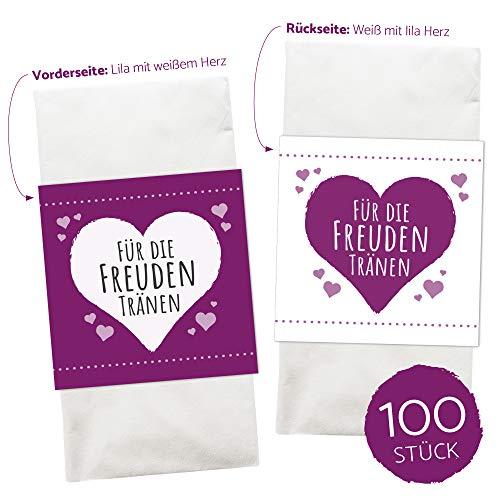 WEDDNG Freudentränen Banderole Flieder (50 Stück), Banderolen für Freudentränen Taschentücher mit Klebepunkt zu verschließen, Gastgeschenke Hochzeit