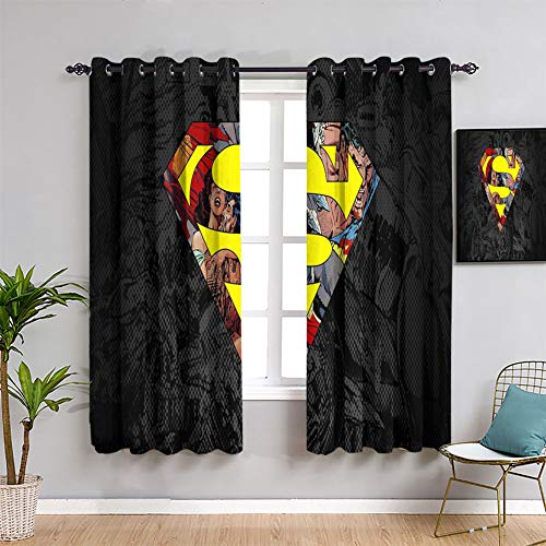 Hedda Clare Superman Logo Avengers Movie Kids Decor Patterned Curtains Room Darkening Wide Curtains for Girls W72 x L63Inch Custom Design