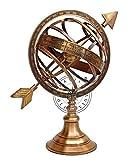 Hanzla Collection - Sfera armillare in ottone con meridiana freccia nautica marittima antico globo