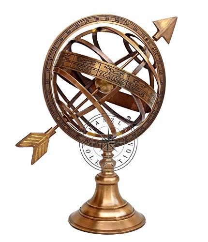 Hanzla Collection 10' Fully Brass Armillary Sphere with Sundial Arrow Nautical Maritime Antique Globe